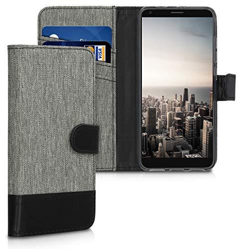 kwmobile Wallet Hülle kompatibel mit ZTE Blade V9 Vita - Hülle Kunstleder mit Kartenfächern Stand in Grau Schwarz