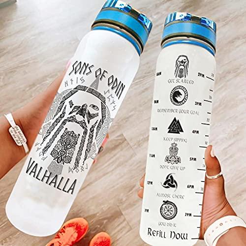 Hothotvery Botella de agua deportiva impresa para niños vikingos de Odin Raven Valhalla, con marcas de agua, sin BPA, 1 litro, botella de Tritan para fitness, color blanco, 1000 ml
