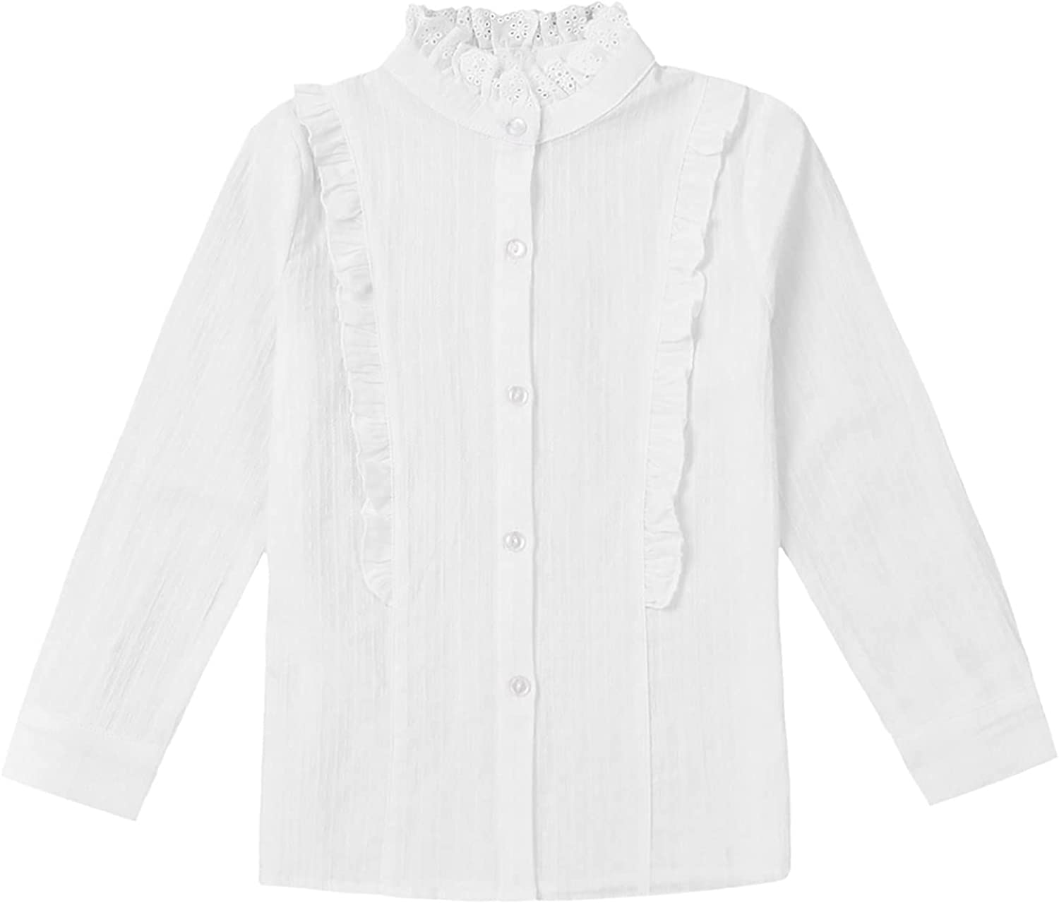 Agoky Kids Girls Ruffle Blouse Long Sleeve Button Down Shirts Solid Color Spring Fall Casual Shirt Tops