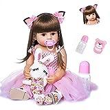 Bambole Reborn da 22 '/ 55 cm Realistiche Bambole Reborn Toddler Girl in Silicone Pieno con Vestito Rosa e Capelli Lunghi, Bambole Fatte a Mano dall'aspetto Reale Ciuccio Magnetico Bambole Neonati G