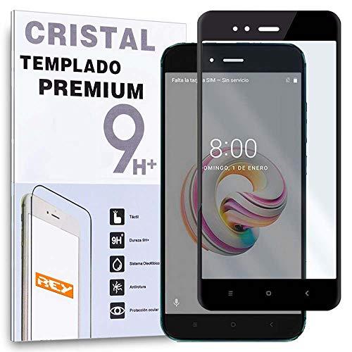 REY - Protector de Pantalla Curvo para XIAOMI MI A1 - MIA1 - MI5X - MI 5X, Negro, Cristal Vidrio Templado Premium, 3D / 4D / 5D