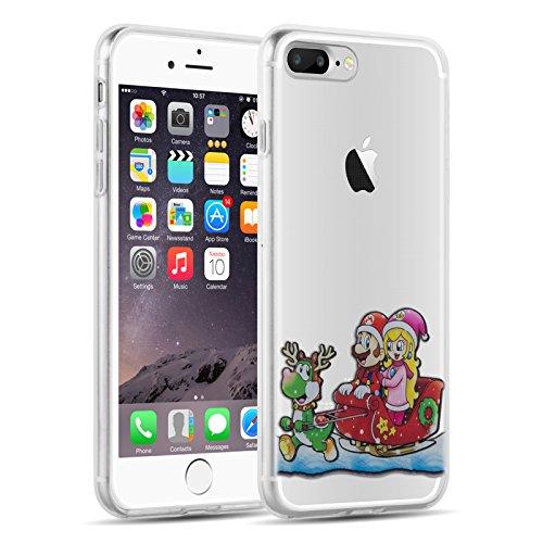 iPhone 8 Plus, iPhone 7 Plus Hülle | JAMMYLIZARD Transparente Schutzhülle Gel Weihnachts-Sketch Back Cover Hülle aus Silikon, Mario Schlitten