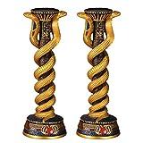Design Toscano Renenutet the Egyptian Cobra Snake Goddess Candlesticks Candle Holders, 11 Inch, Set of Two, Set of 2