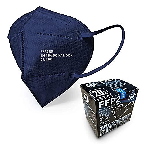 Blau FFP2 Maske - Schachtel à 20 Stück - EU CE Zertifiziert, mit verstellbarem Gummiband und anpassbarem Nasenbügel| 5 Filtrationsschichten, Schützt drinnen und draußen