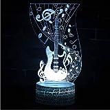 Nota Musical Tema De Guitarra Lámpara 3D Luz De Noche Led 7 Cambio De Color...