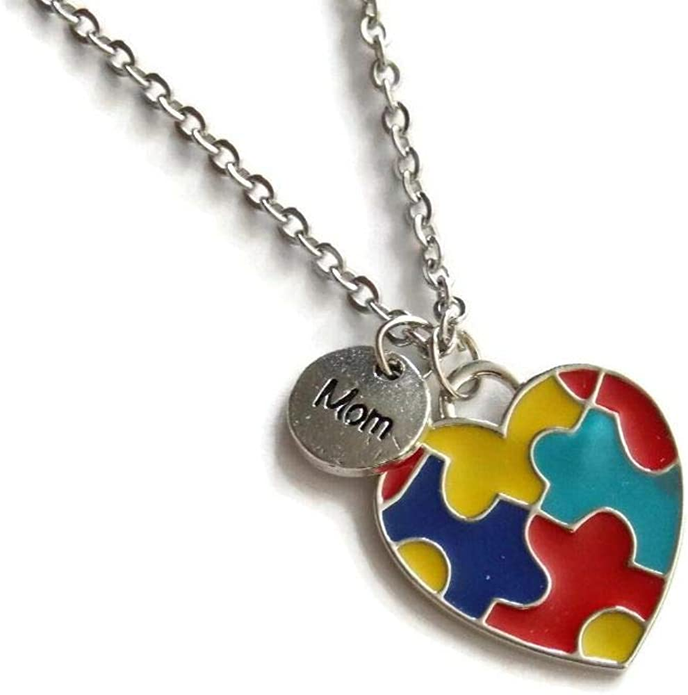 Mom Autism Awareness Puzzle Heart Necklace Inch S - 20 Free shipping Kansas City Mall anywhere in the nation Stainless