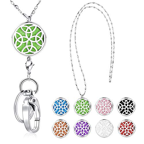 SAM & LORI Strong Lanyard Necklace Stainless Steel Beaded Chain Necklace Silver for ID Badge Holder and Key Chains Non Breakaway Inspirational Charms Pendant Celtic Knot