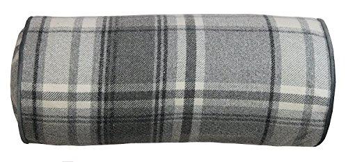 McAlister Textiles Boutique Deluxe | Heritage Nackenrolle im Tartan-Muster kariert inkl. Füllung 45cm x 20cm in Anthrazit | Deko Nackenkissen Schottenkaro