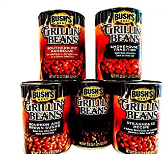 Bush's Grillin' Baked Beans, VARIETY 4 Pack + FREE Can of MAPLE CURED BACON Beans + 48 piece set of heavy duty plastic utensils. Pack includes 1 can of SMOKEHOUSE TRADITION, 1 can of BOURBON & BROWN SUGAR, 1 can of SOUTHERN PIT BARBECUE, 1 can of STEAKHOUSE RECIPE. (22 oz & 21.5 oz cans)
