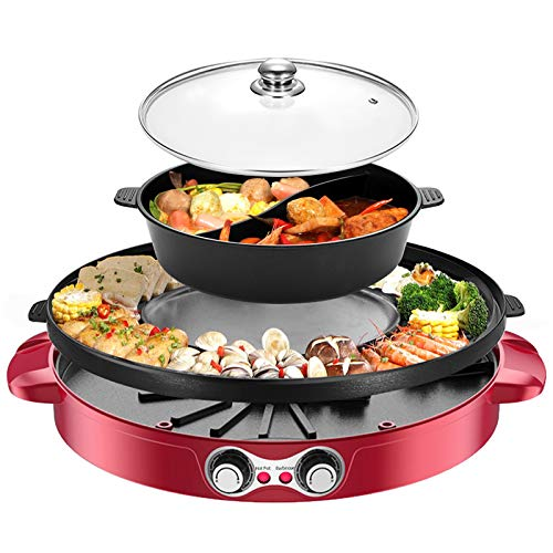 2200W Electric Grill and Hot Pot with Divider, 110V 2 in 1 Detachable Easy to Clean BBQ & Shabu with Independent Temperature Control, for 2-8 People Family Gathering Friend Meeting Party