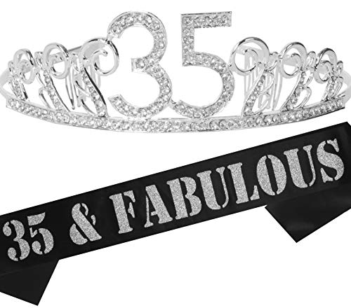 35th Birthday Gifts for Women, 35th Birthday Tiara and Sash, Happy 35th Birthday Party Supplies, 35th Glitter Satin Sash and Tiara Birthday Crown for 35th Birthday Party Supplies and Decorations