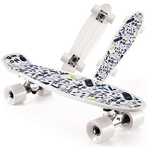 WhiteFang Skateboards 22 inches Kids Skateboard with Colorful PU Wheels, Mini Cruiser Skateboards for Boys Girls Beginners (New York)