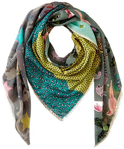 Codello Damen Exotisches Tuch Halstuch Schultertuch   Mustermix   aus Modal und Seide   140x140cm, Olive, Einheitsgröße