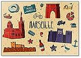 Kühlschrankmagnet Frankreich Marseille Sightseeing Symbole