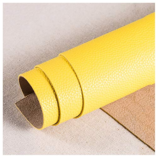 Espesar 1.8 Mm Patrón Litchi Imitación De Cuero PU Tapicería Vinilo, Tela Sintética para Tapicería Manualidades De Bricolaje Reparación De Sofás Interiores 138x100cm(Color:62 Yellow)