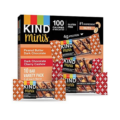 KIND Bar Minis, Peanut Butter Dark Chocolate/Dark Chocolate Cherry Cashew, Gluten Free, 100 Calories, Low Sugar, 60 Count