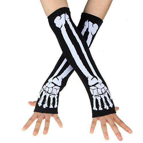 Ecosco Black Punk Gothic Skeleton Long Arm Warmer Fingerless Gloves