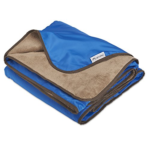 "Lightspeed Outdoors XL Soft Plush Fleece Outdoor Stadium Rainproof and Windproof Picnic Blanket | 72"" x 58"" 2 Person Camp Blanket (Blue)"