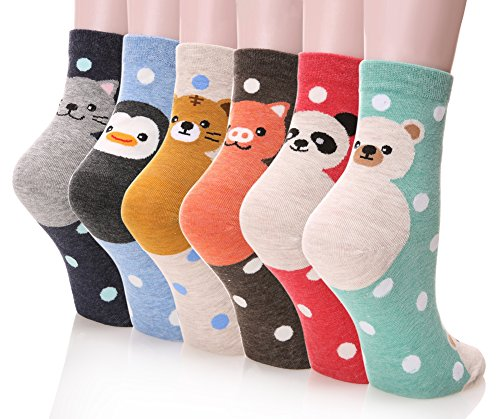 Dosoni Girl Cartoon Animal Cute Casual Cotton Novelty Crew socks 6 packs-Gift Idea (Dot Panda)