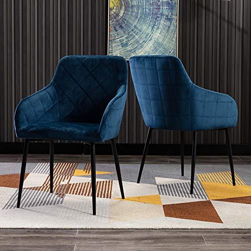 Mingone 2er Set Retro Esszimmerstuhl Küchenstuhl Wohnzimmerstuhl Sitzfläche aus Samt,Gestell aus Metall Sessel mit Armlehne (Blau)
