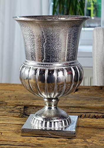 MichaelNoll Vase Blumenvase Gefäß Pokalvase Dekovase Aluminium Silber Luxus, Deko Modern, Wohnzimmer, Schlafzimmer, S 29 cm