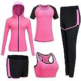 BOTRE Conjunto Chandal Mujer Completo Conjuntos Deportivos para Mujer Deporta Ropa Chándal Traje Deportivo de jogging Yoga Set Conjunto de Gimnasio Entrenamiento Fitness Tenis (#Rosa, XL)