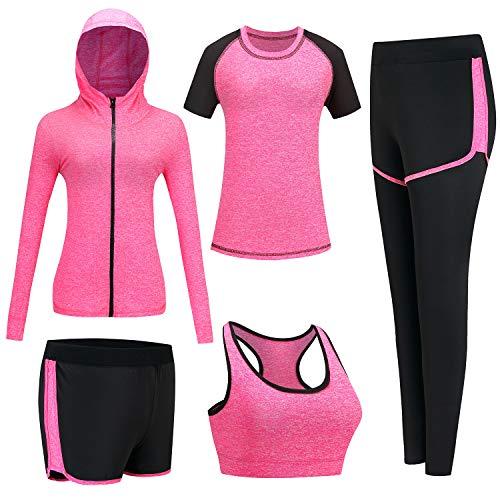 BOTRE Damen Traingsanzug Yoga Kleidung Anzug 5er-Set Sportanzüge Jogginganzug Gym Fitness Kleidung Laufbekleidung Sportswear Sport Yoga Outfit Damen BH Leggings Set (#Rose, X-Large)