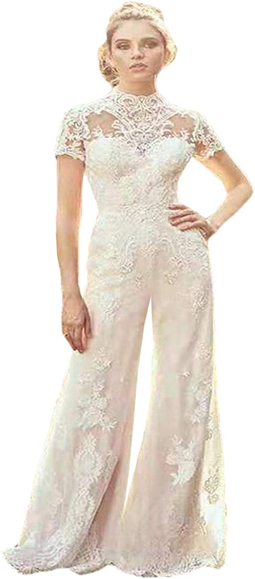 Country Jumpsuits 2020 Wedding Dresses High Neck Short Sleeve Lace Appliqued Beach Boho Bridal Gowns