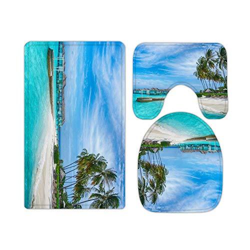 W40cm x L60cm 3 Piezas Alfombra De Ducha Almohadilla Verano Tropical Ocean Coconut Beach Cocotero Absorbentes Protector Antideslizante Impermeable Estera