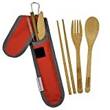 Bamboo Travel Utensil Set | Bamboo Fork, Knife, Spoon, Chopsticks, Straw, Straw-cleaning brush,...