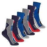 Footstar 6 Paar Kinder Frottee-Socken mit Thermo-Effekt - Variante 2 Blau Rot 31-34