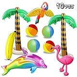 aovowog 10 Stücke Aufblasbare Palmen Flamingo Spielzeug Aufblasbare Bananenstrandbälle Fliegen Papagei Delphin für Hawaii Party Luau Party Decor Strand Hintergrund