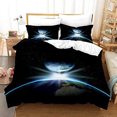 Bedclothes-Blanket Juego de sabanas Cama 90 Juveniles,Caso 3D Universo Starry Ropa de Cama de Tres Piezas-6_228 * 228