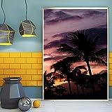 wojinbao Senza Cornice Poster Stampa Immagini Tela da Parete Wall Art Home Decor 1 Pezzo Sunrise Scenery Albero di Cocco per Soggiorno Incorniciato 60x90cm