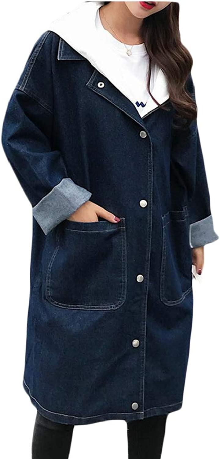 Generic Women's Autumn Denim Loose Hoodie Button Down Trench Coat with Pockets
