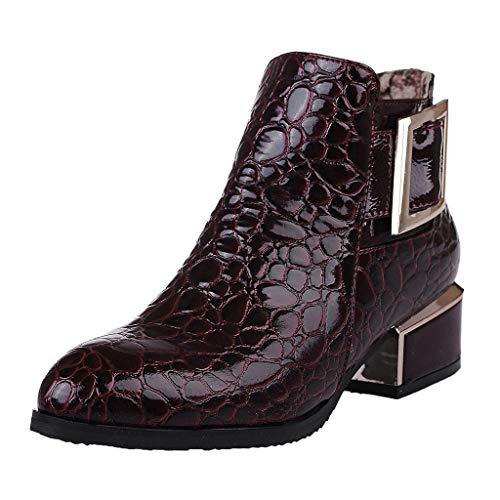 ZODOF Botas Mujer Dedo del pie Puntiagudo Botas Cortas Plataforma Lateral con Cremallera Gruesa con Botines Zapatos Vestir Mujer(39.5 EU,Vino)