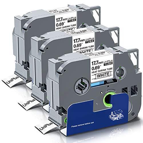 UniPlus Compatible para Brother HS-241 HS241 Cinta Tubo Termorretráctil 17,7mm Negro sobre Blanco para Brother PT-E300VP PT-E300 PT-E550WVP PT-P750WVP, 17,7 mm x 1,5 m, 3 Pack