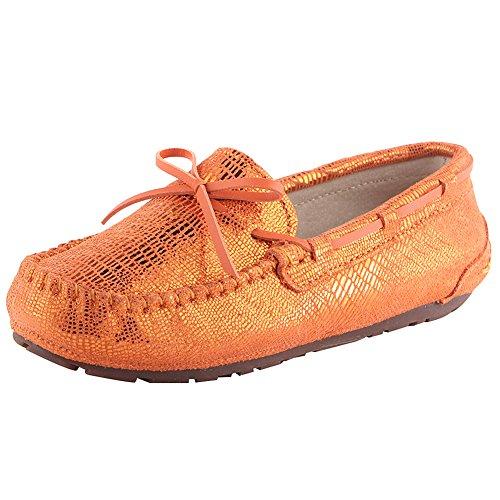 ANUFER Damen Mokassin Schön Bowknot Leuchtenden Eidechse Gemustert Flach Penny Slipper Bootsschuhe Orange SN020520-2 EU38.5