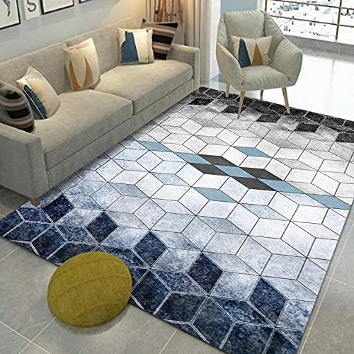 MOUPSDT Alfombra Salon Geometría Tridimensional Gris-Azul Alfombra vinilica, alfombras Salon, alfombras de habitacion, Alfombra Cocina, Alfombra Pasillo, Lavable Antideslizante Alfombras 160x230cm