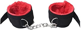 COLORFUL BLING Fluffy Wrist Handcuffs Bracelet Plush Role Play Exercise Bands Adjustable Leash Chain for Women Home Yoga G...