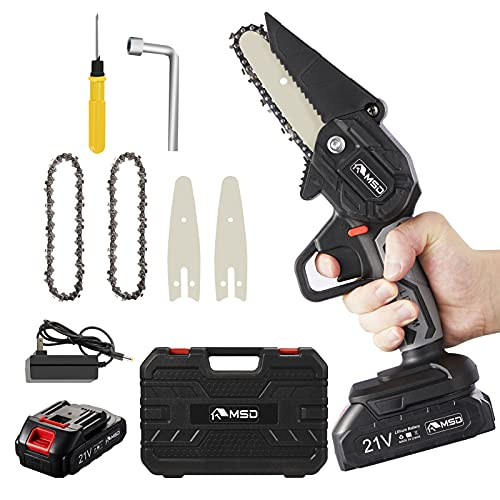 MSD Cordless Mini Chainsaw, Upgraded 4' One-Hand...
