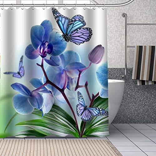 AMISADMGMA Cortina de la duchaCortinas de Ducha de orquídeas Personalizadas duraderas para baño, Cortina de baño, Tela de poliéster Lavable para decoración artística de bañera
