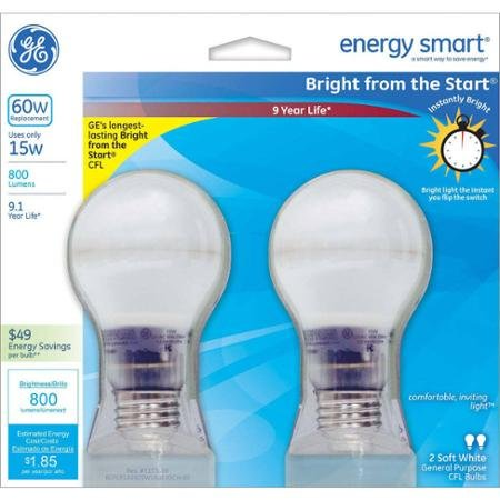 GE 60W Equivalent Bright From the Start CFL Light Bulb 15W, A19, 2-Pack