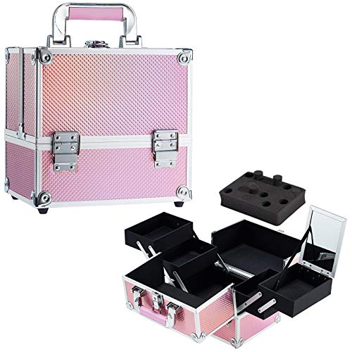 Stagiant Makeup Train Case for Girls Nail Polish Organized Cosmetic Box Jewelry Organizer Lockable with Keys 4 Tier Trays Carrying with Pink Handle Makeup Storage Box - Pink Mermaid
