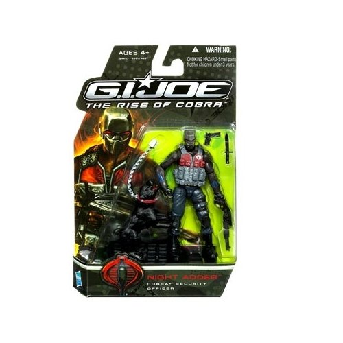 """GI Joe Movie Series """"The Rise of Cobra"""" 4 Inch Tall Action Figure - Cobra Security Officer NIGHT ADDER with Knife, Pistol, M.A.R.S Industries D57-A Extreme Tactical Rifle, Guard Dog with Leash, Ammunition Vest and Display Stand"""