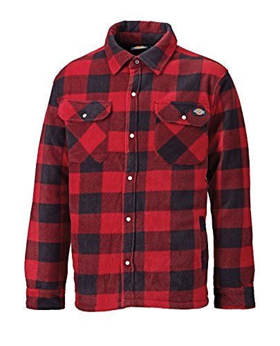 Dickies Portland, camicia imbottita in pile (SH5000) verde/blu navy Red - Red X-Large