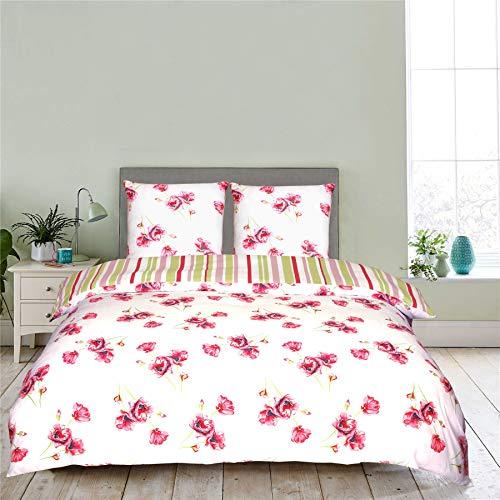 Nimsay Home Parure de lit 100% coton avec motif floral coquelicot et housse de couette réversible facile d'entretien Blanc/rouge/vert 260 x 240 cm + 2 taies d'oreiller 63 x 63 cm