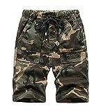 LOKTARC Big Boys Pull On Camo Shorts Kids Bermuda Summer Knee Length Pants Army Green Size 170, 13-14Years