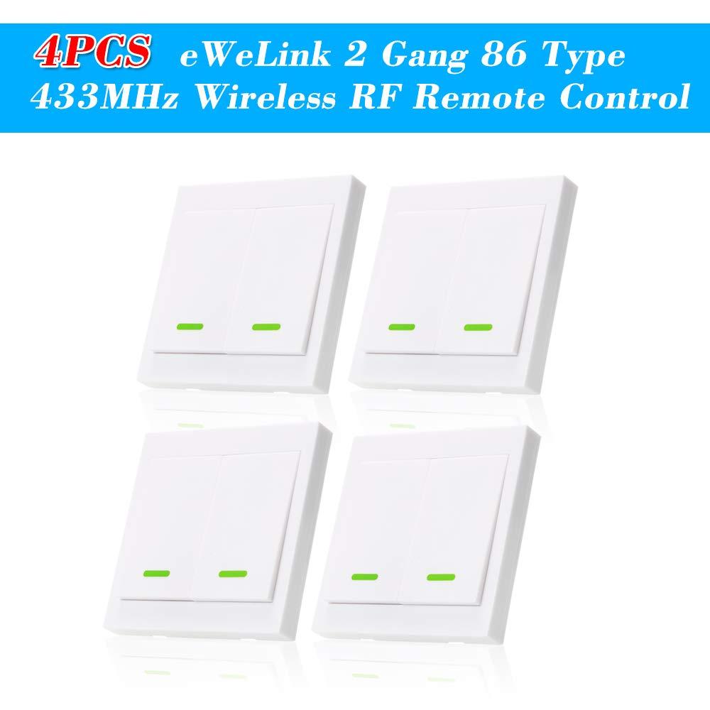4PCS eWeLink Pulsador de Pared Interruptor de luz Interruptor Remoto 2 Gang 86 Tipo Panel de interruptores de Encendido/Apagado 433MHz Transmisor de Control Remoto RF inalámbrico con Etiquetas: Amazon.es: Bricolaje y herramientas