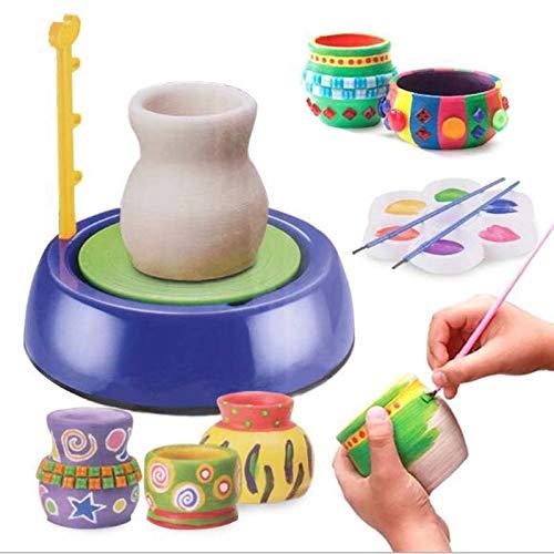 Riiai Rueda de cerámica, máquina formadora de ruedas de cerámica, para niños, para manualidades, cerámica, cerámica, cerámica, para trabajos de cerámica